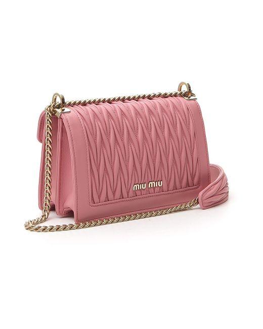 Miu Miu Pink Matelassé Shoulder Bag