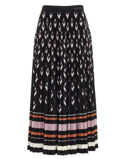 Valentino Black Pleated Midi Skirt