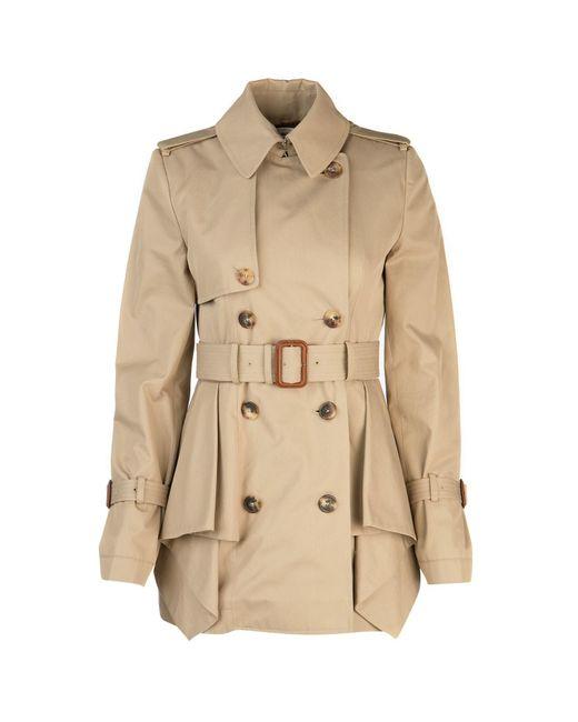 Alexander McQueen Natural Peplum Belted Trench Coat