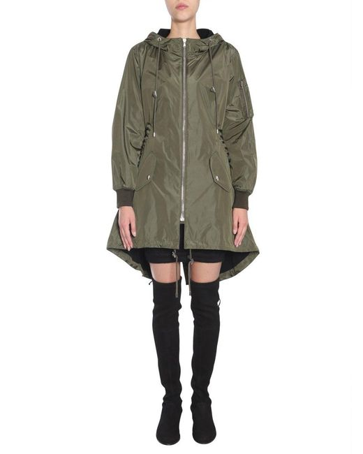 Moschino Green Lace-up Detail Parka