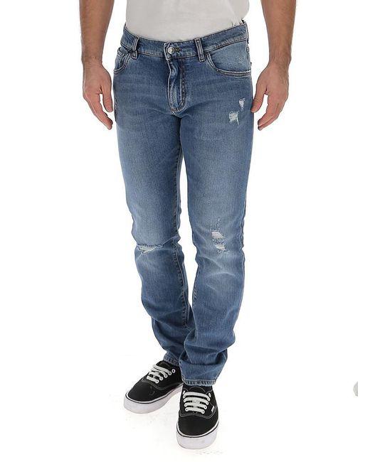 Dolce & Gabbana Blue Distressed Jeans for men