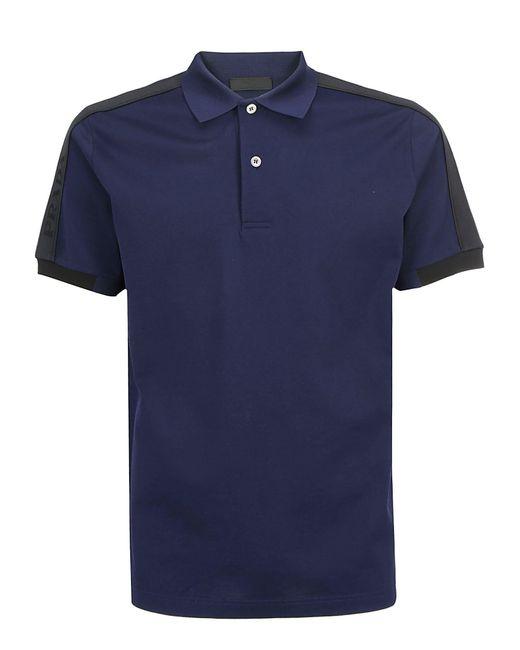 Prada Blue Logo Trim Polo Shirt for men