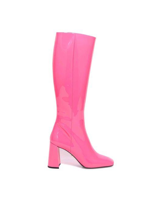 Prada Pink Knee-high Mid-heel Boots
