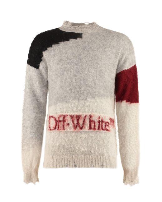 Off-White c/o Virgil Abloh Gray Mohair Blend Sweater for men
