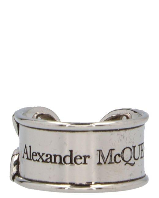 Alexander McQueen Metallic Silver Safety Pin Ring for men