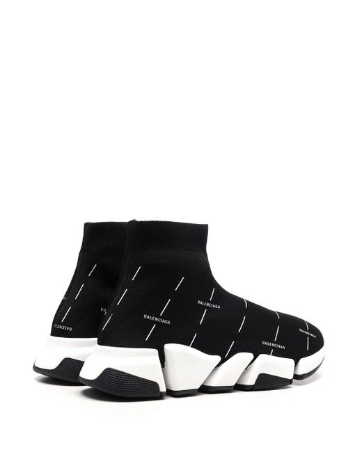 """Balenciaga Black All Over Logo """"speed"""" Sneakers"""