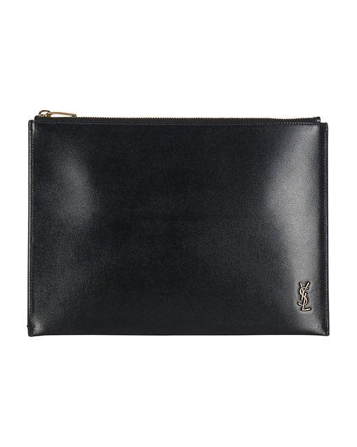 Saint Laurent Black Tiny Monogram Zippered Tablet Holder for men