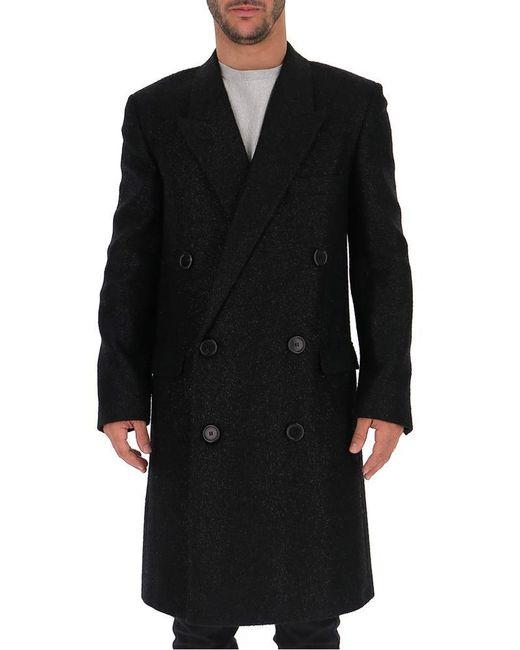 Saint Laurent Black Double Breasted Coat for men