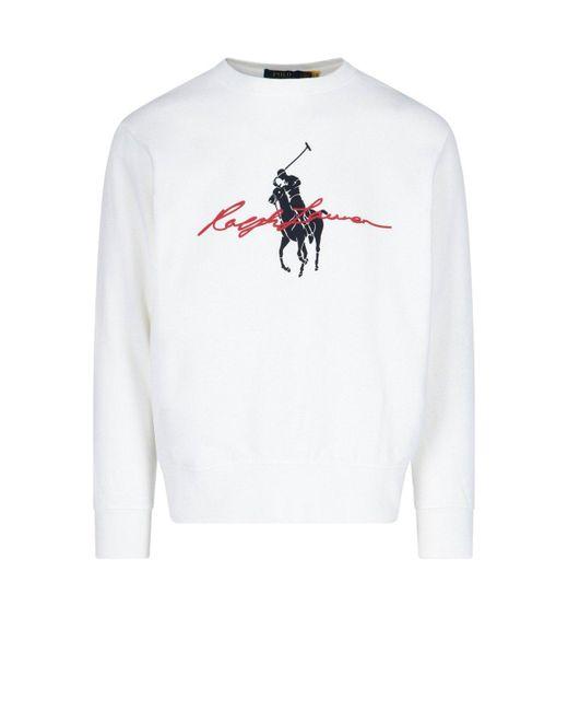 Polo Ralph Lauren White Maxi Logo Print Sweatshirt for men