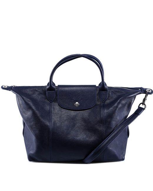 Longchamp - Blue Le Pliage Cuir Top Handle Bag - Lyst