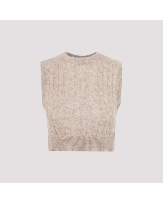Brunello Cucinelli Natural Cable Knit Cropped Vest