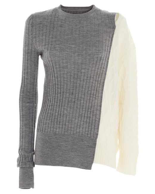 Sacai Gray Patchwork Asymmetric Knit Jumper