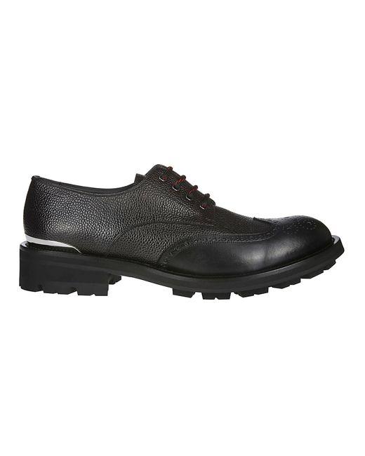 Alexander McQueen Black Logo Engraved Pebbled Lace-up Shoes for men