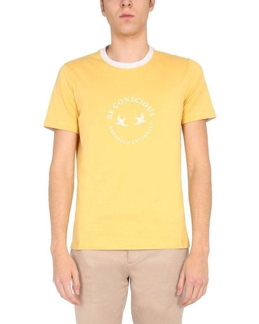 Brunello Cucinelli Yellow Be Conscious Print T-shirt for men