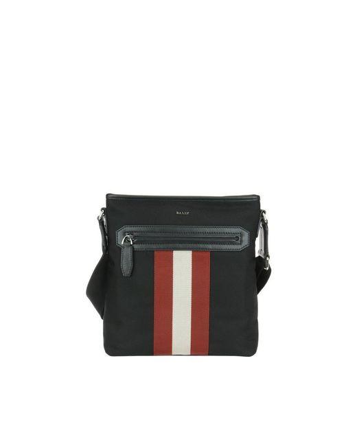 Bally Currios Black Tech Fabric Messenger Bag for men