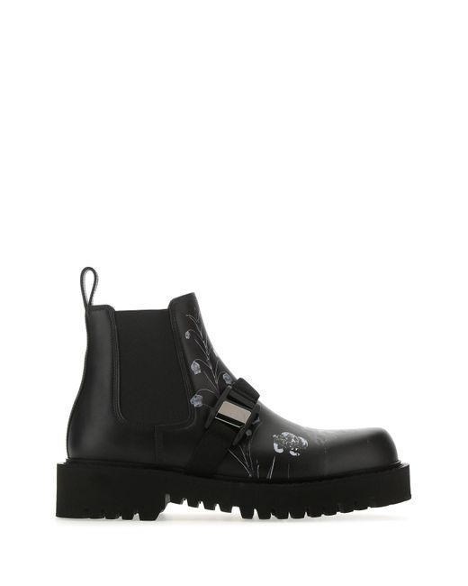 Valentino Garavani Black Flowersity Beatle Boots for men