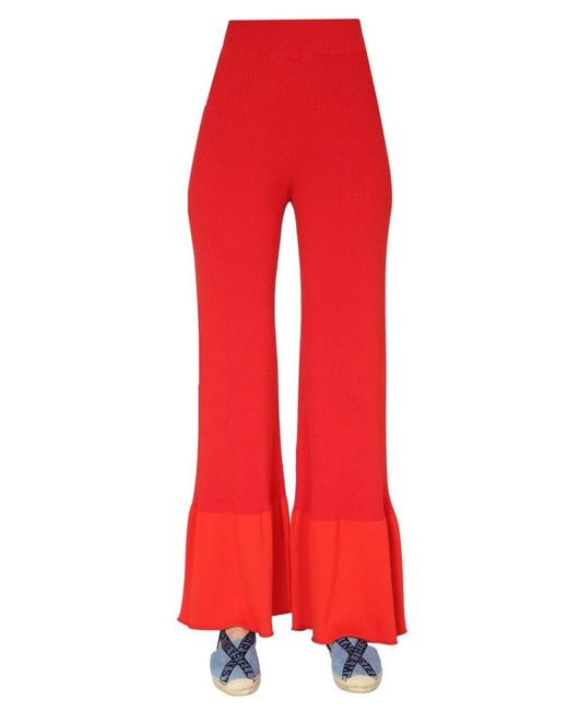 Stella McCartney Red Ribbed Knit Trousers