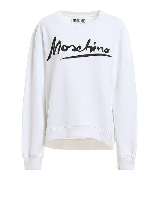 Moschino White Logo Signature Print Sweatshirt