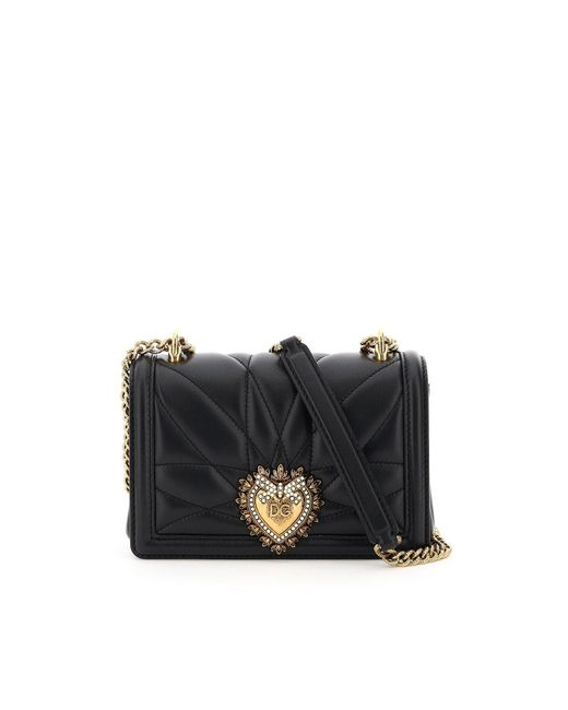 Dolce & Gabbana Black Small Devotion Crossbody Bag In Quilted Nappa Leather