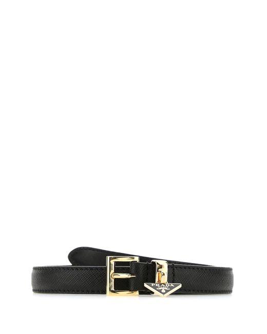 Prada Black Logo Charm Buckle Belt