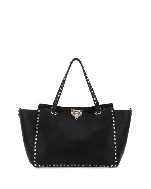 Valentino Garavani Black Leather Medium Rockstud Handbag Donna