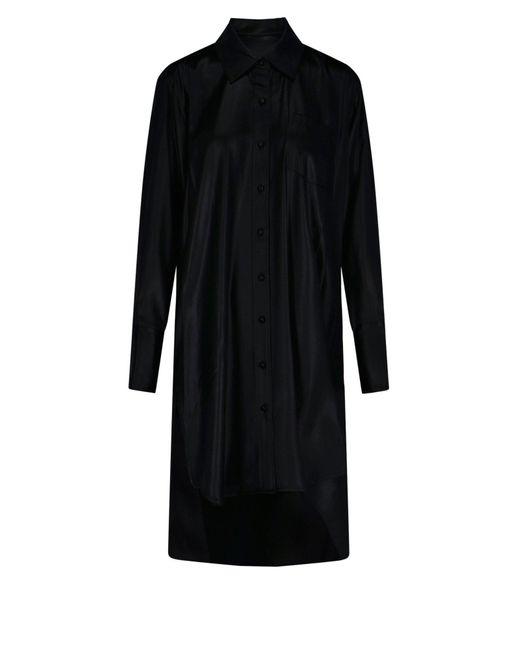 T By Alexander Wang Black Asymmetric Hem Shirt Dress
