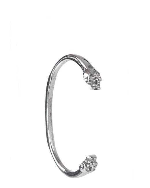 Alexander McQueen Metallic Double Skull Cuff Bracelet for men