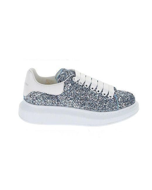 Alexander McQueen Blue Glitter Runway Sneakers