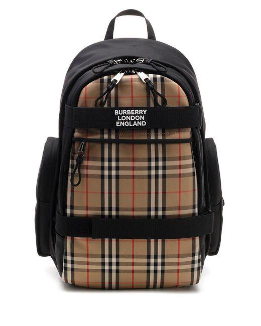 Burberry Black Vintage Check Logo Backpack for men