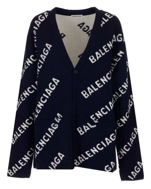 Balenciaga Blue Allover Logo Intarsia Cardigan