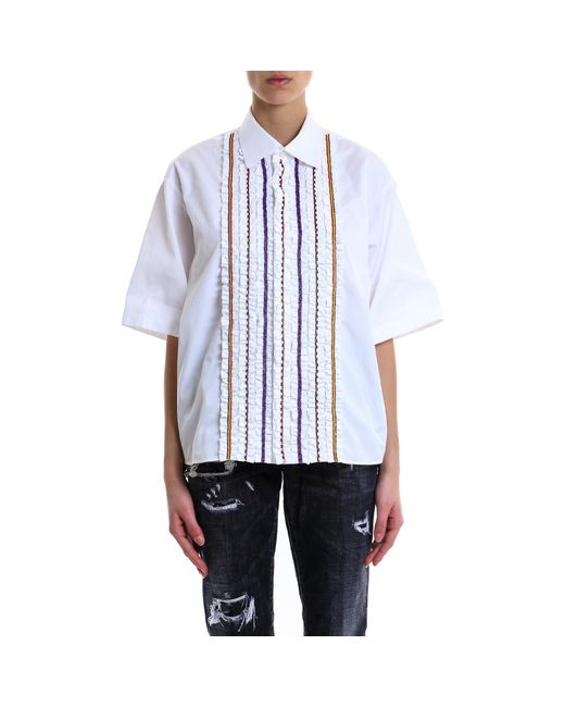 DSquared² - White Striped Embroidered Shirt - Lyst