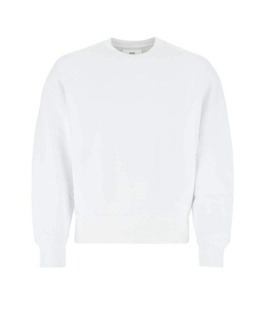 AMI White De Coeur Embroidered Sweatshirt for men