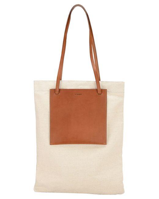 Jil Sander Brown Pocket Flat Shopper Bag for men