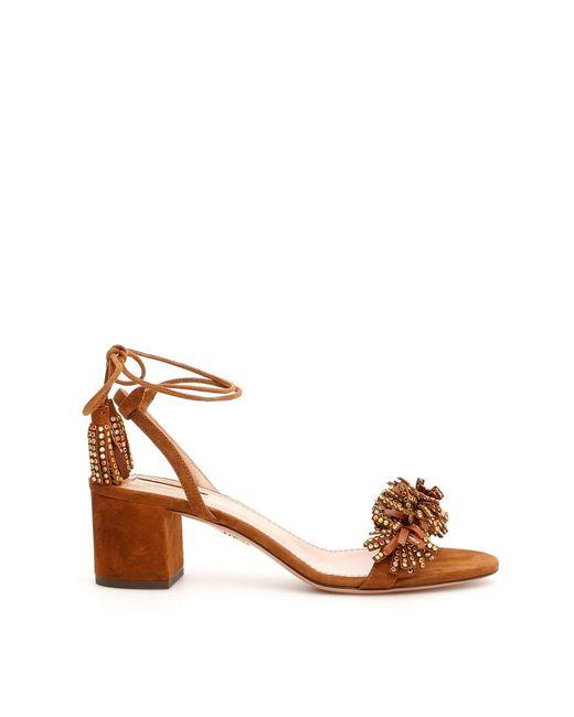 Aquazzura Brown Fringe Detail Tassel Sandals