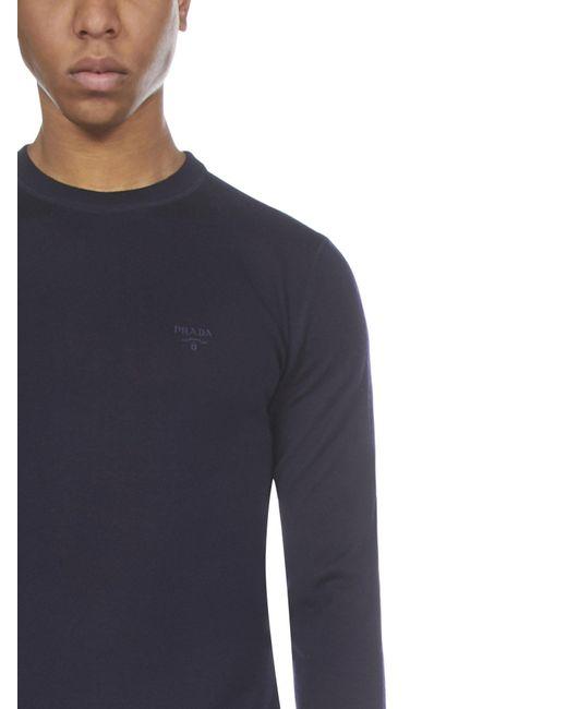 Prada Blue Logo Embroidered Crewneck Jumper for men