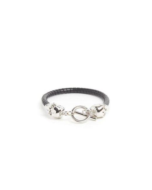Alexander McQueen - Black Skull Detailed Leather Bracelet for Men - Lyst