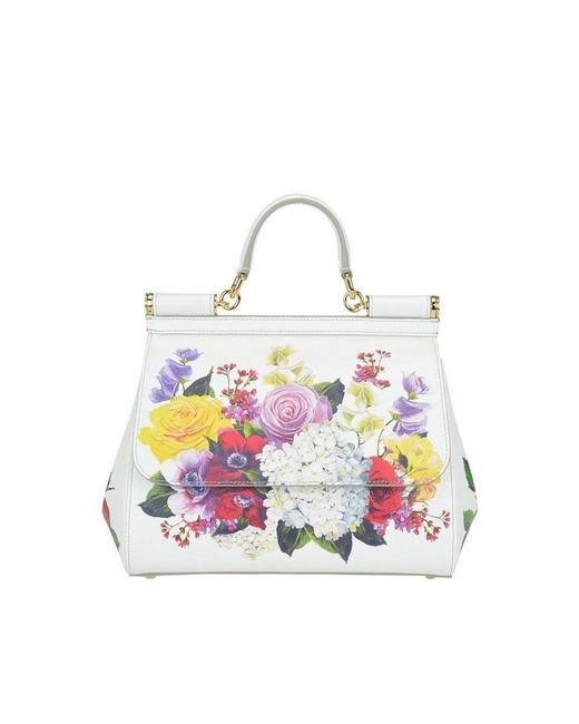 101ad6b13c Dolce   Gabbana - White Medium Sicily Floral Printed Leather Bag - Lyst