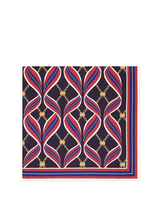 Gucci Blue Ribbon & Logo Chain Print Square Silk Scarf
