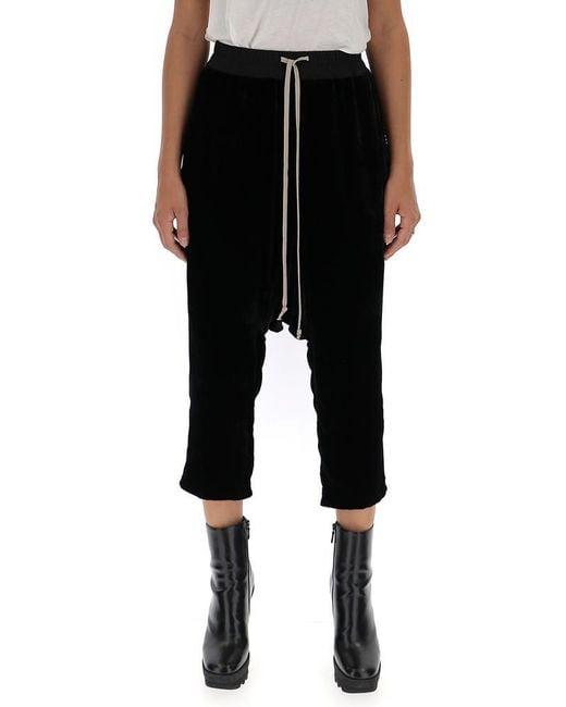 Rick Owens - Black Drop-crotch Cropped Pants - Lyst
