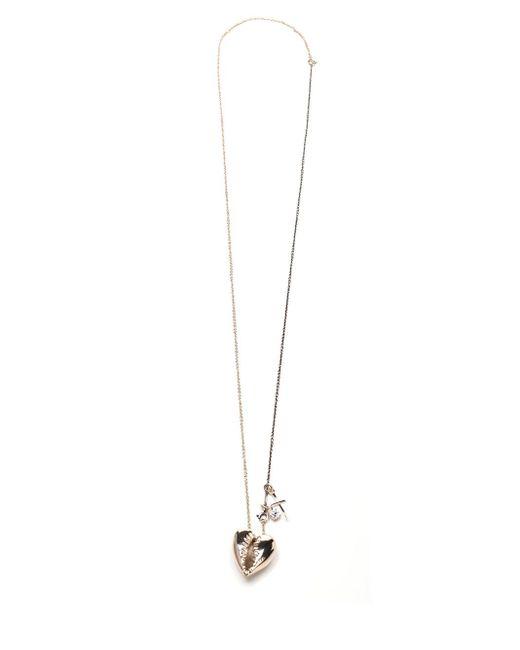 Saint Laurent Metallic Heart-shaped Shell Necklace