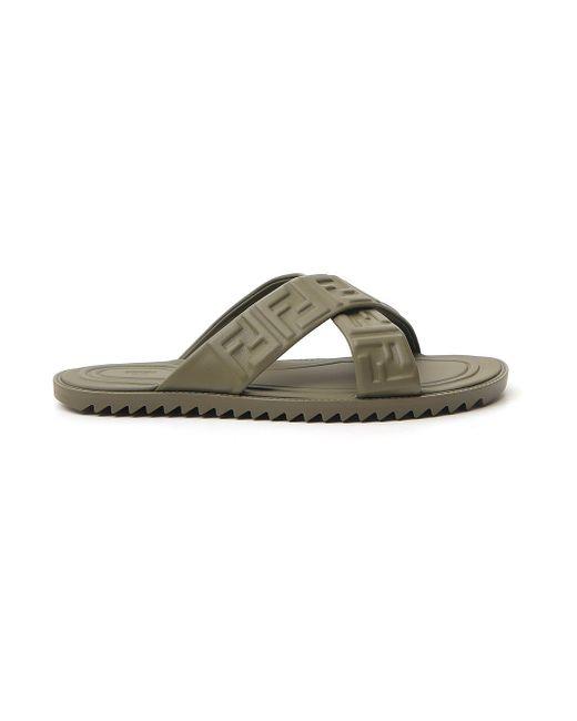 Fendi Ff Logo Embossed Sandals in Green