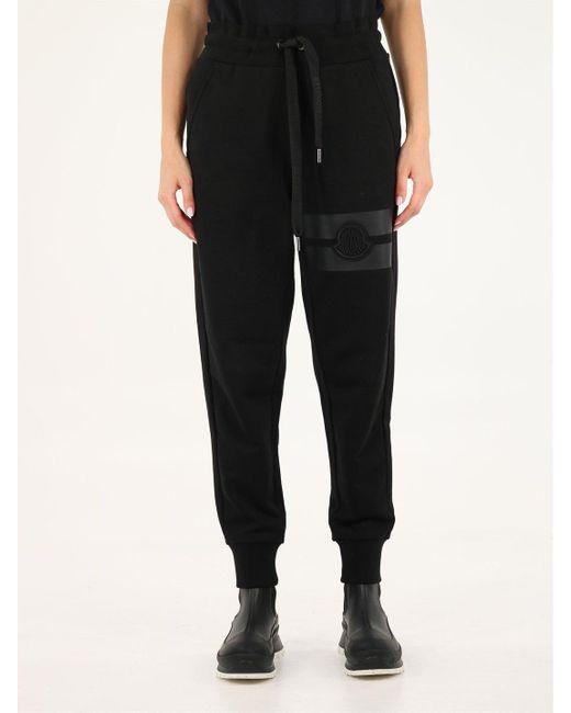Moncler Black Logo Detailed Drawstring Pants for men