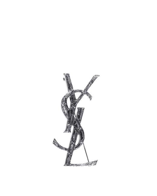 Saint Laurent - Metallic Monogram Brooch - Lyst