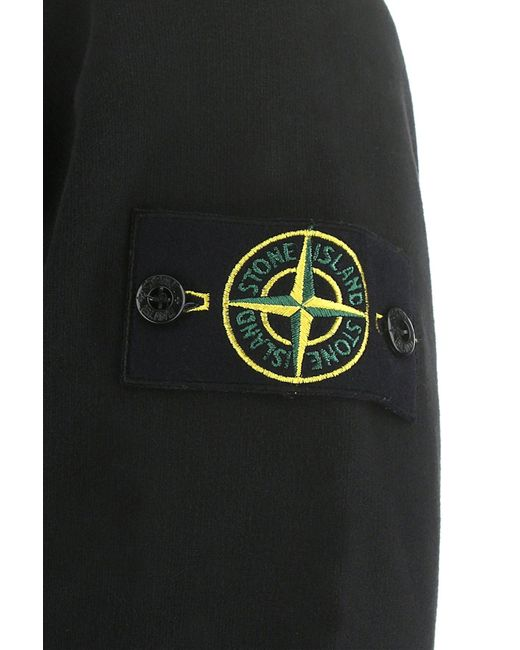 Stone Island Black Logo Patch Hoodie for men