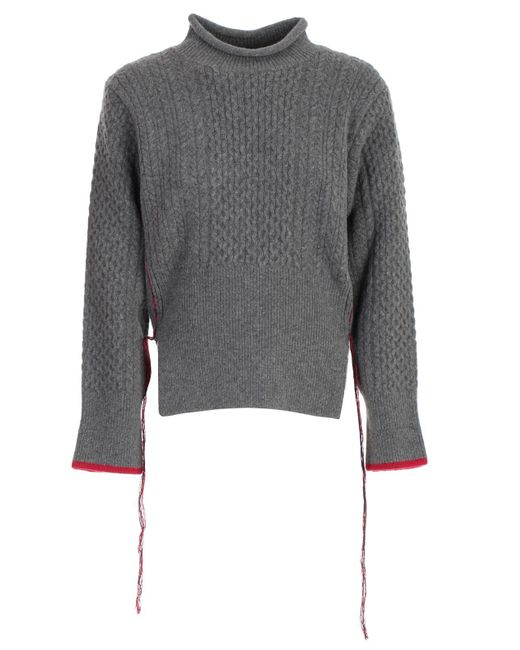 Eudon Choi Gray Contrast Stitch Cable-knit Jumper