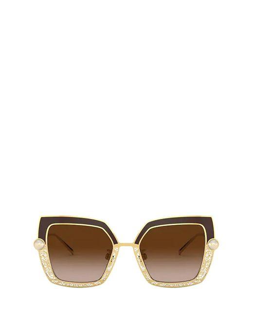 Dolce & Gabbana Brown Oversized Square Frame Sunglasses