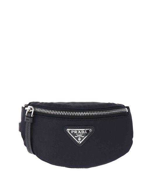 Prada Blue Logo Plaque Mini Pouch Bag for men