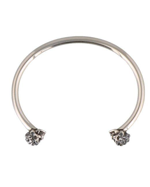 Alexander McQueen Metallic Thin Twin Skull Bracelet