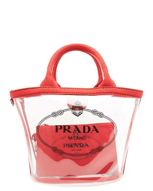 0cac57952066 new arrivals prada red logo classic clear tote bag lyst e5fe4 1aa98