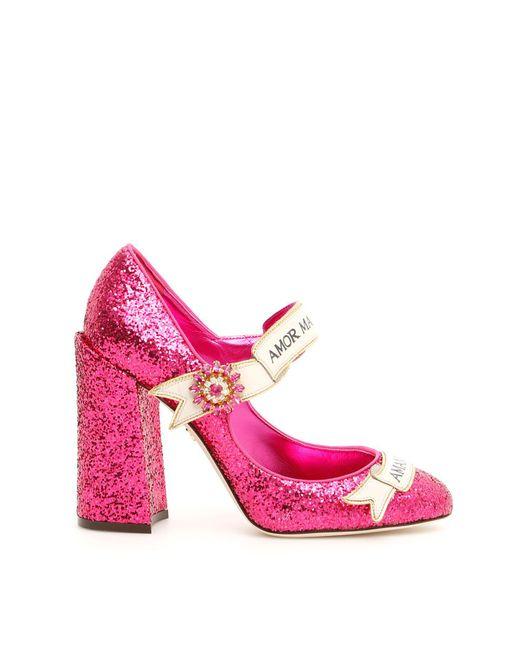 Dolce & Gabbana - Pink Slogan Glitter Mary Janes - Lyst